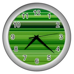 Horizontal Stripes Line Green Wall Clocks (silver)  by Mariart