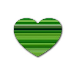 Horizontal Stripes Line Green Rubber Coaster (heart)  by Mariart
