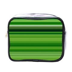 Horizontal Stripes Line Green Mini Toiletries Bags by Mariart