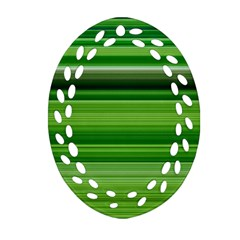 Horizontal Stripes Line Green Ornament (oval Filigree) by Mariart