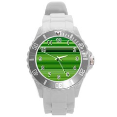 Horizontal Stripes Line Green Round Plastic Sport Watch (l) by Mariart
