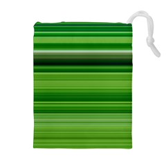 Horizontal Stripes Line Green Drawstring Pouches (extra Large) by Mariart
