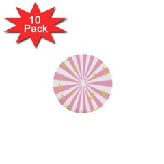 Hurak Pink Star Yellow Hole Sunlight Light 1  Mini Buttons (10 Pack)  by Mariart