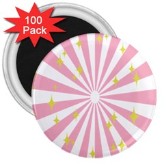 Hurak Pink Star Yellow Hole Sunlight Light 3  Magnets (100 Pack) by Mariart