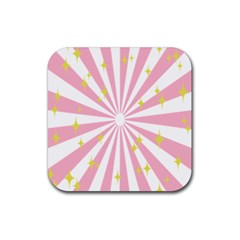 Hurak Pink Star Yellow Hole Sunlight Light Rubber Square Coaster (4 Pack)  by Mariart