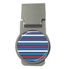 Martini Style Racing Tape Blue Red White Money Clips (round)  by Mariart