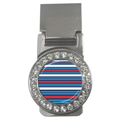 Martini Style Racing Tape Blue Red White Money Clips (cz)  by Mariart