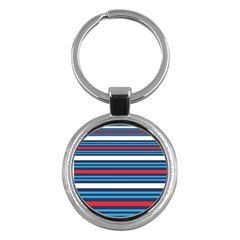 Martini Style Racing Tape Blue Red White Key Chains (round)  by Mariart