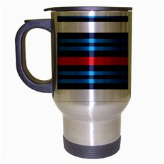 Martini Style Racing Tape Blue Red White Travel Mug (silver Gray) by Mariart