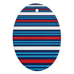 Martini Style Racing Tape Blue Red White Oval Ornament (two Sides) by Mariart