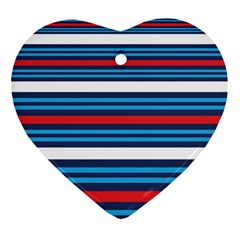 Martini Style Racing Tape Blue Red White Heart Ornament (two Sides) by Mariart