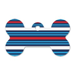 Martini Style Racing Tape Blue Red White Dog Tag Bone (one Side) by Mariart