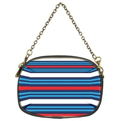 Martini Style Racing Tape Blue Red White Chain Purses (one Side)  by Mariart