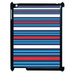 Martini Style Racing Tape Blue Red White Apple Ipad 2 Case (black) by Mariart
