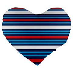 Martini Style Racing Tape Blue Red White Large 19  Premium Flano Heart Shape Cushions by Mariart