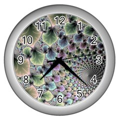 Beautiful Image Fractal Vortex Wall Clocks (silver)  by Simbadda