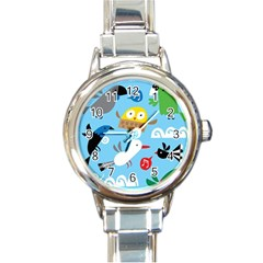 New Zealand Birds Close Fly Animals Round Italian Charm Watch by Mariart