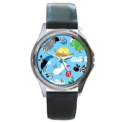 New Zealand Birds Close Fly Animals Round Metal Watch by Mariart