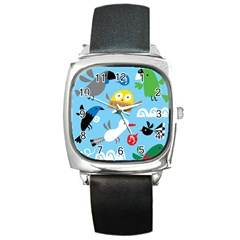 New Zealand Birds Close Fly Animals Square Metal Watch by Mariart
