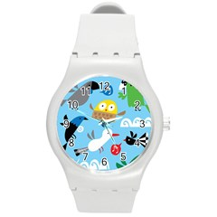 New Zealand Birds Close Fly Animals Round Plastic Sport Watch (m) by Mariart