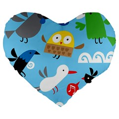 New Zealand Birds Close Fly Animals Large 19  Premium Heart Shape Cushions by Mariart