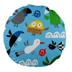New Zealand Birds Close Fly Animals Large 18  Premium Flano Round Cushions by Mariart