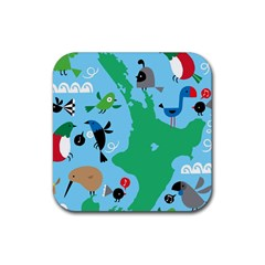 New Zealand Birds Detail Animals Fly Rubber Coaster (square)  by Mariart