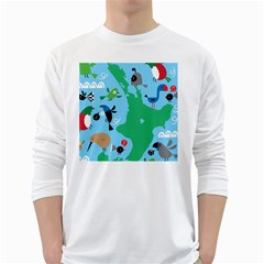 New Zealand Birds Detail Animals Fly White Long Sleeve T Shirts by Mariart