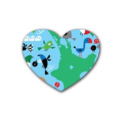 New Zealand Birds Detail Animals Fly Heart Coaster (4 Pack)  by Mariart