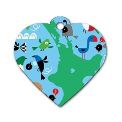 New Zealand Birds Detail Animals Fly Dog Tag Heart (two Sides) by Mariart