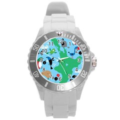 New Zealand Birds Detail Animals Fly Round Plastic Sport Watch (l) by Mariart