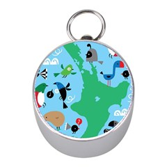 New Zealand Birds Detail Animals Fly Mini Silver Compasses by Mariart