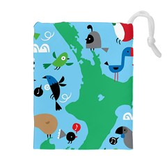 New Zealand Birds Detail Animals Fly Drawstring Pouches (extra Large) by Mariart
