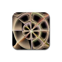 Background With Fractal Crazy Wheel Rubber Square Coaster (4 Pack)  by Simbadda