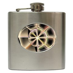 Background With Fractal Crazy Wheel Hip Flask (6 Oz) by Simbadda