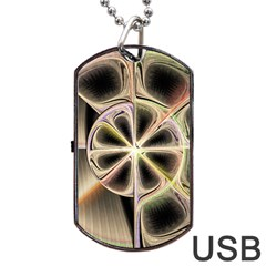 Background With Fractal Crazy Wheel Dog Tag Usb Flash (two Sides) by Simbadda