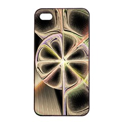 Background With Fractal Crazy Wheel Apple Iphone 4/4s Seamless Case (black) by Simbadda