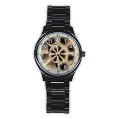 Background With Fractal Crazy Wheel Stainless Steel Round Watch by Simbadda