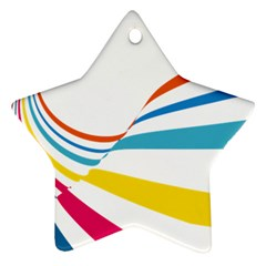 Line Rainbow Orange Blue Yellow Red Pink White Wave Waves Ornament (star) by Mariart