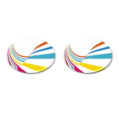 Line Rainbow Orange Blue Yellow Red Pink White Wave Waves Cufflinks (oval) by Mariart