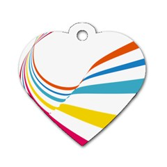 Line Rainbow Orange Blue Yellow Red Pink White Wave Waves Dog Tag Heart (one Side) by Mariart