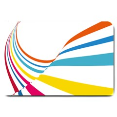 Line Rainbow Orange Blue Yellow Red Pink White Wave Waves Large Doormat  by Mariart