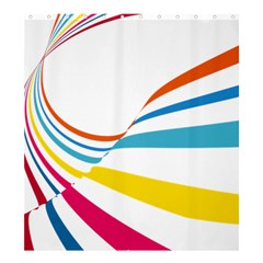 Line Rainbow Orange Blue Yellow Red Pink White Wave Waves Shower Curtain 66  X 72  (large)  by Mariart