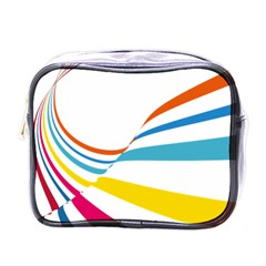 Line Rainbow Orange Blue Yellow Red Pink White Wave Waves Mini Toiletries Bags by Mariart