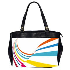 Line Rainbow Orange Blue Yellow Red Pink White Wave Waves Office Handbags (2 Sides)  by Mariart