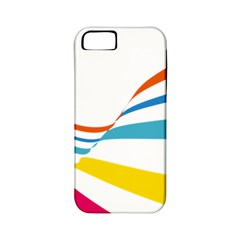 Line Rainbow Orange Blue Yellow Red Pink White Wave Waves Apple Iphone 5 Classic Hardshell Case (pc+silicone)