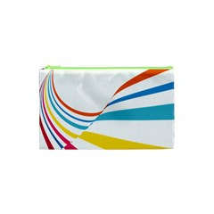 Line Rainbow Orange Blue Yellow Red Pink White Wave Waves Cosmetic Bag (xs) by Mariart