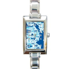 New Zealand Fish Detail Blue Sea Shark Rectangle Italian Charm Watch by Mariart