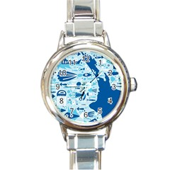 New Zealand Fish Detail Blue Sea Shark Round Italian Charm Watch by Mariart