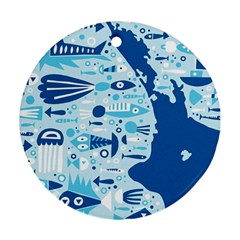 New Zealand Fish Detail Blue Sea Shark Ornament (round) by Mariart